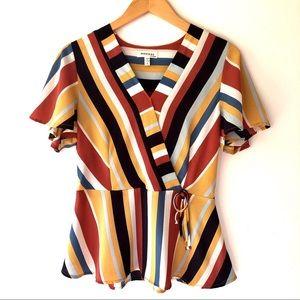 Monteau Colorful Striped Peplum Faux Wrap Blouse L